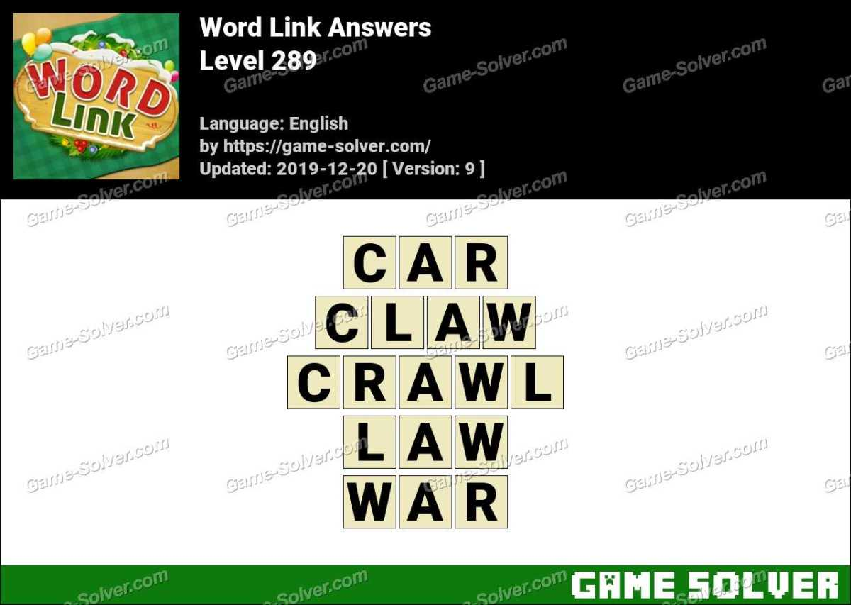 Word Link Level 289 Answers