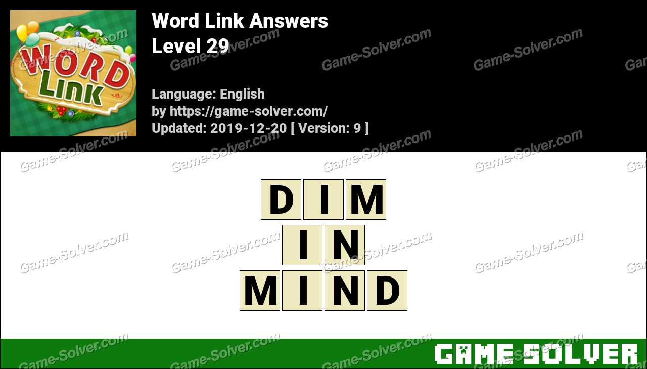 Word Link Level 29 Answers