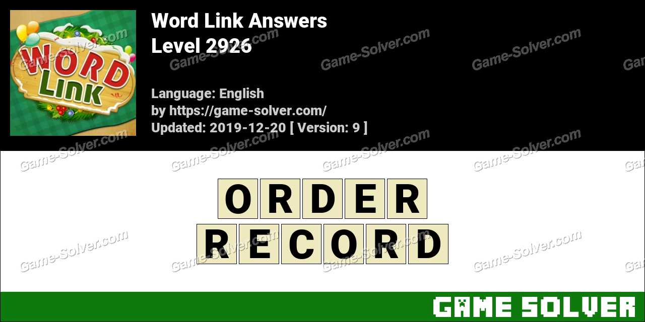 Word Link Level 2926 Answers