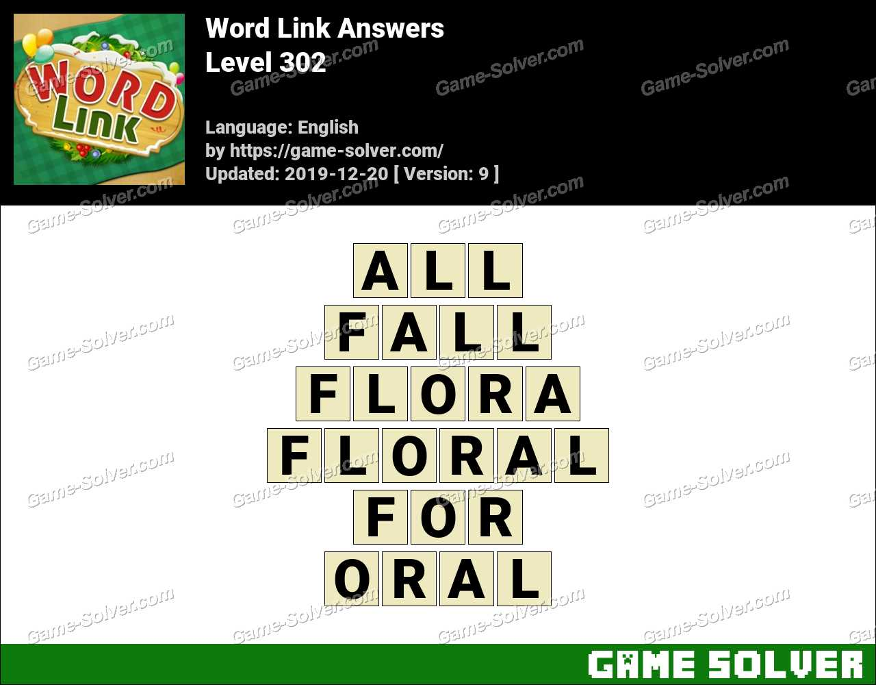 Word Link Level 302 Answers