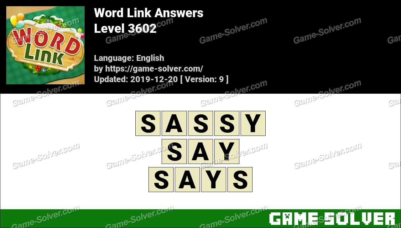 Word Link Level 3602 Answers