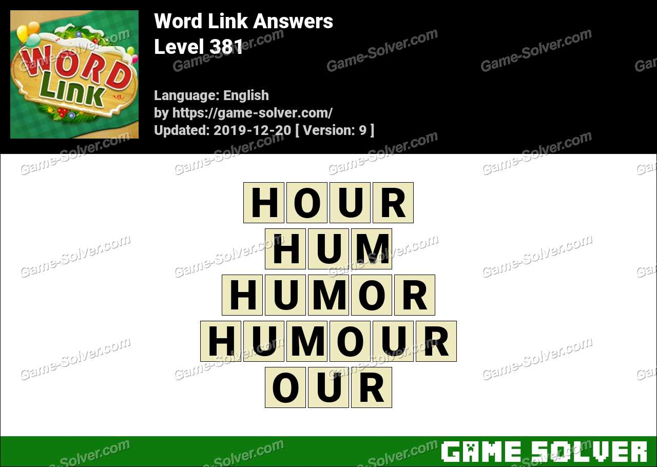 Word Link Level 381 Answers