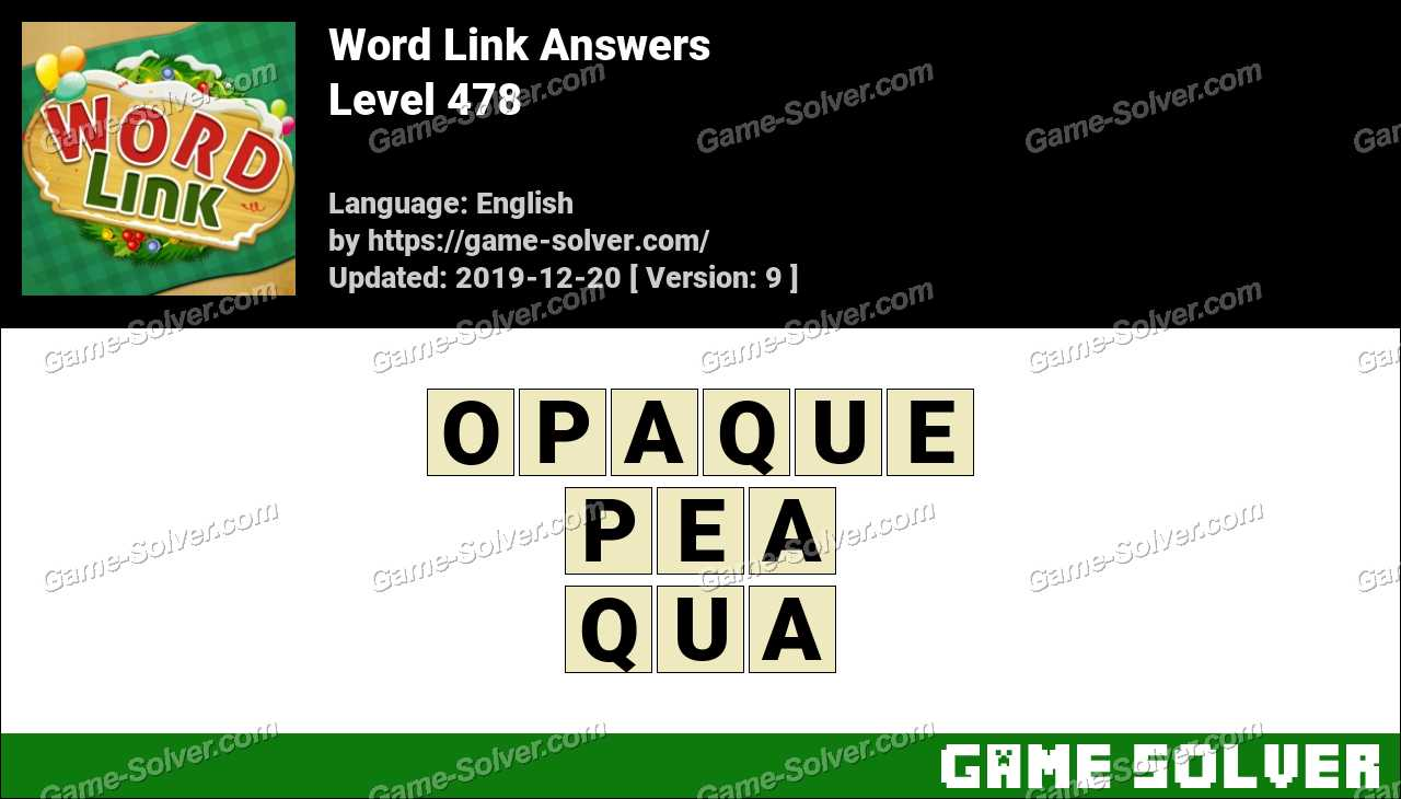 Word Link Level 478 Answers