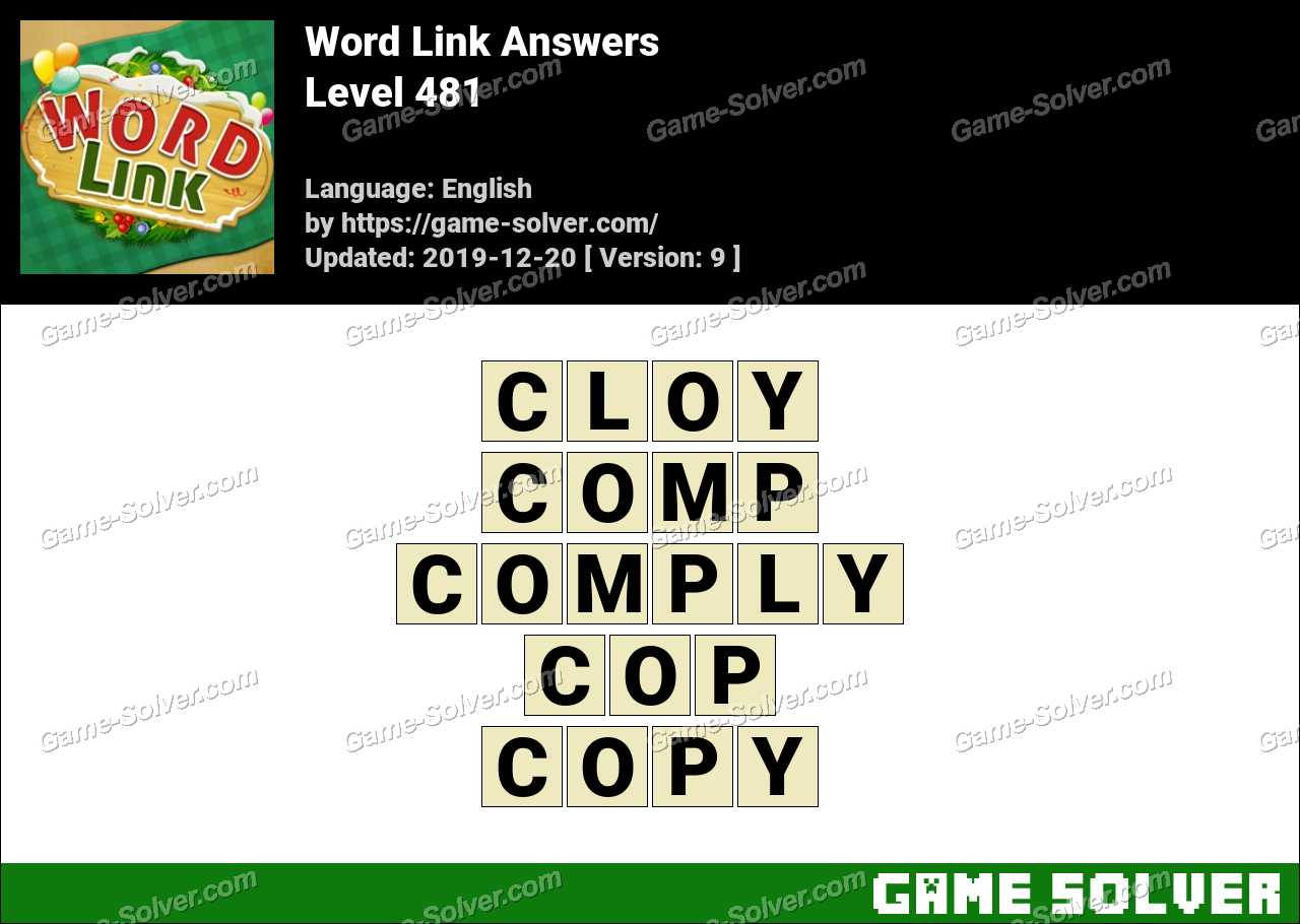Word Link Level 481 Answers