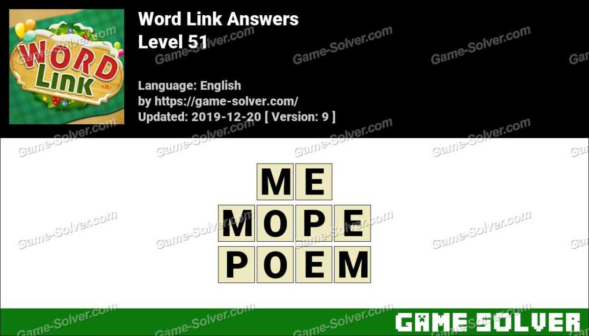 Word Link Level 51 Answers