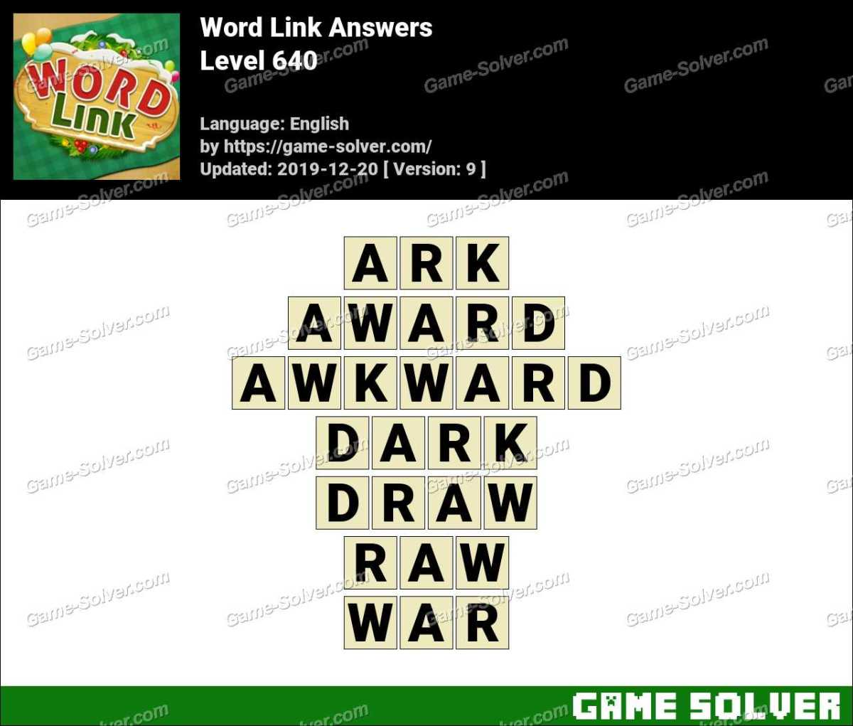 Word Link Level 640 Answers