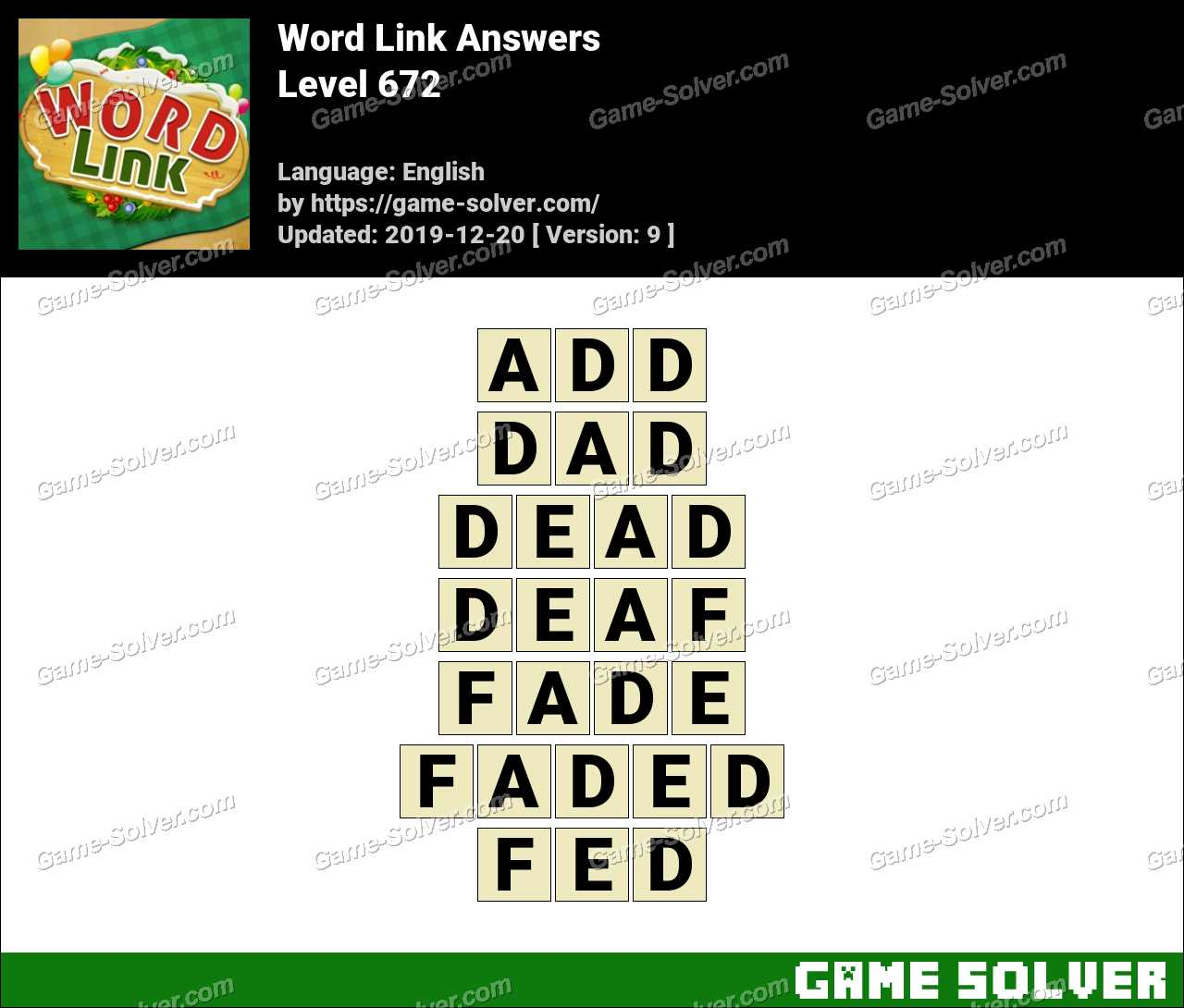 Word Link Level 672 Answers