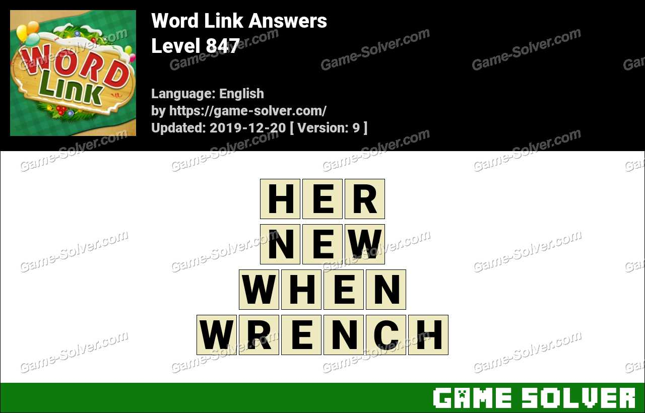 Word Link Level 847 Answers