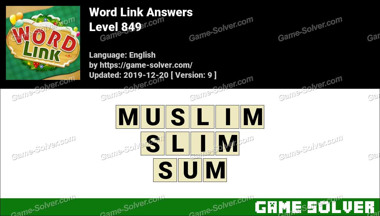 Word Link Level 849 Answers