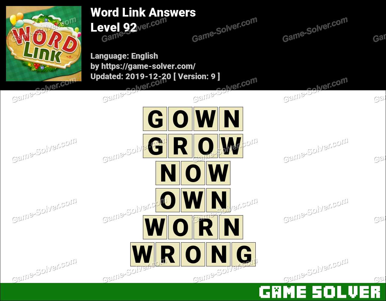 Word Link Level 92 Answers