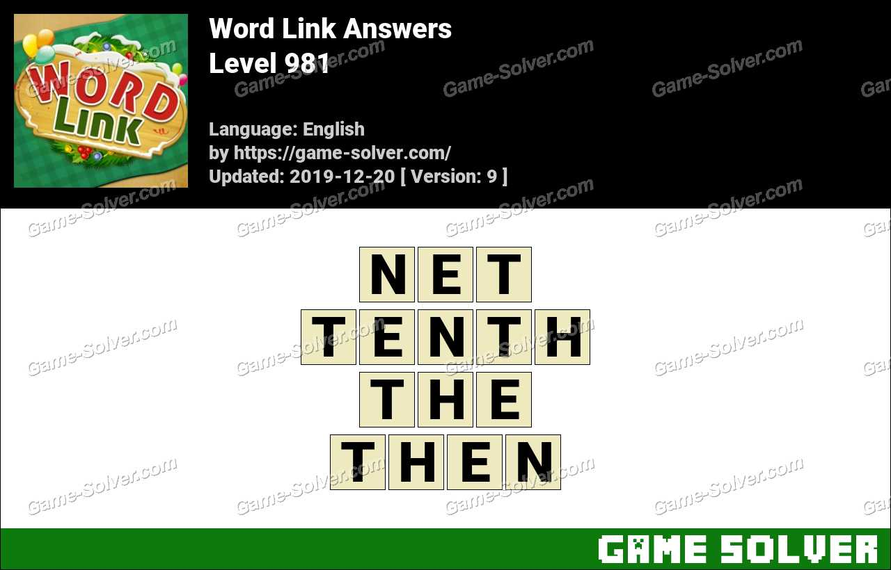 Word Link Level 981 Answers