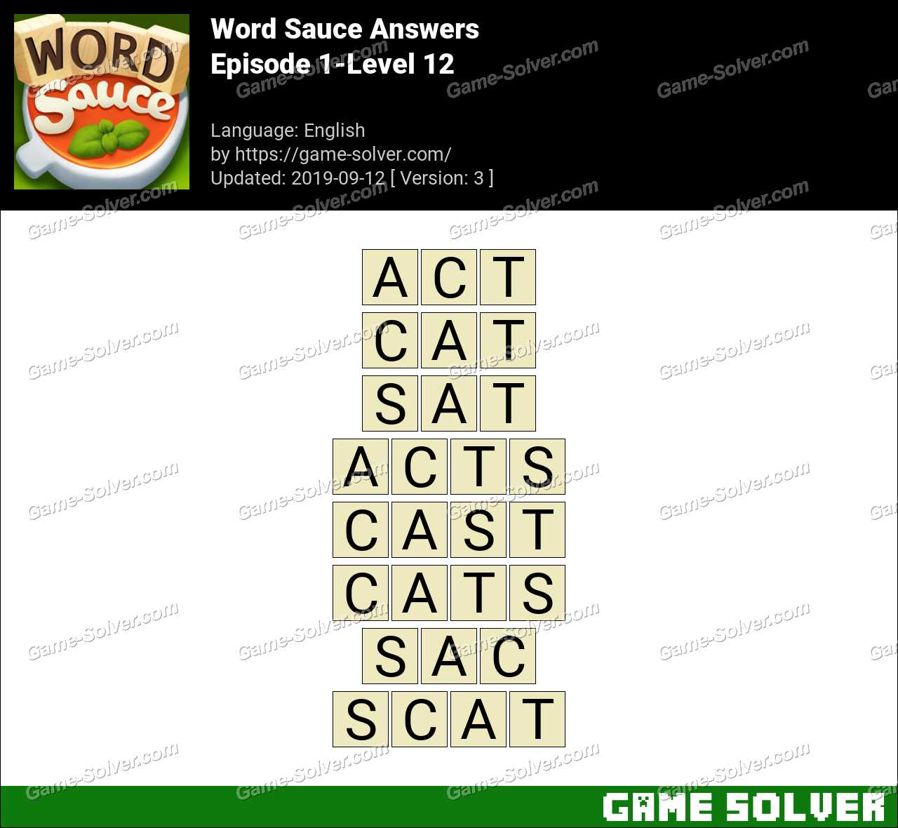 Word Sauce Episode 1-Level 12 Answers