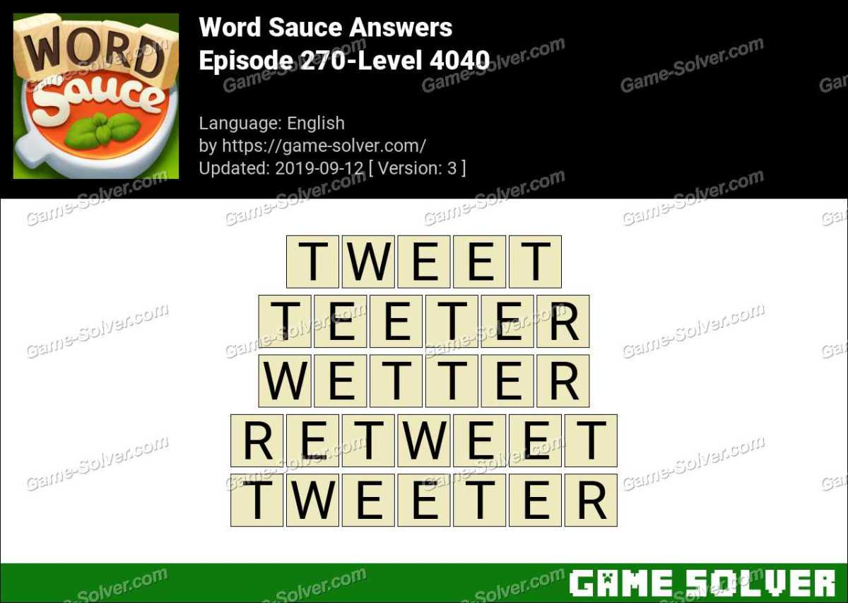 Word Sauce Episode 270-Level 4040 Answers