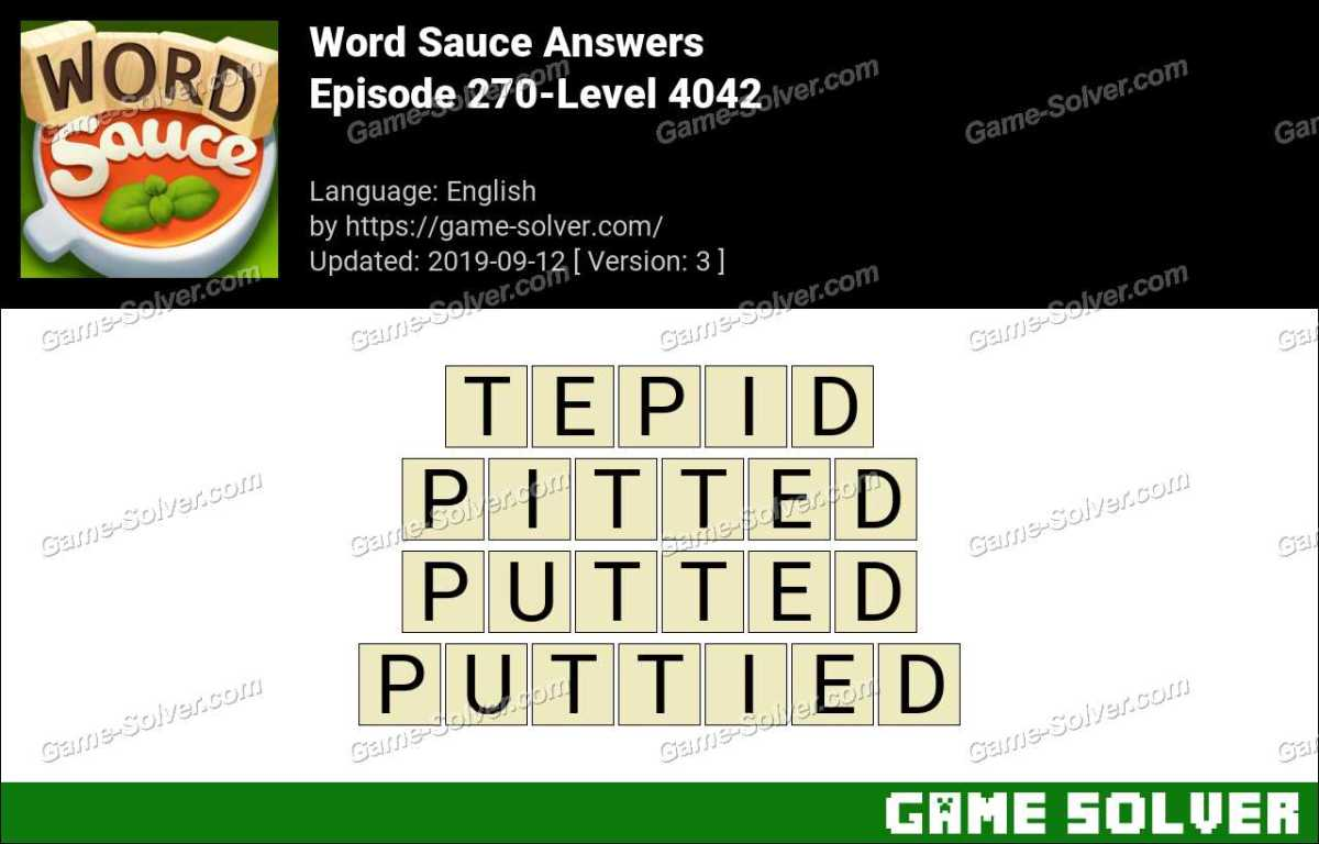 Word Sauce Episode 270-Level 4042 Answers