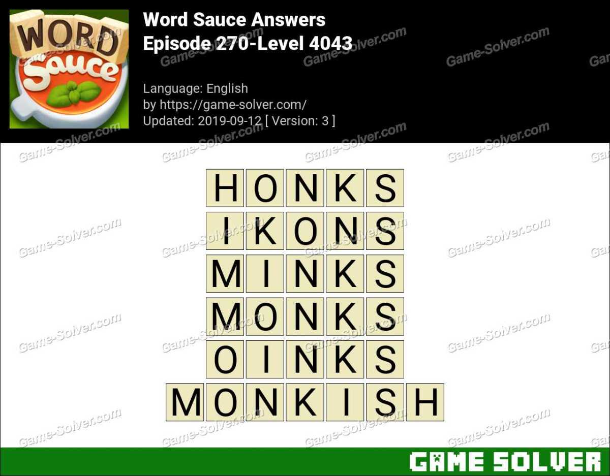 Word Sauce Episode 270-Level 4043 Answers