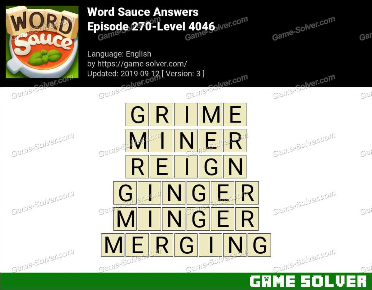 Word Sauce Episode 270-Level 4046 Answers