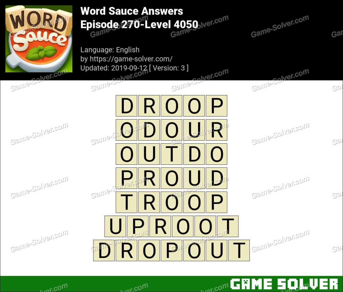 Word Sauce Episode 270-Level 4050 Answers
