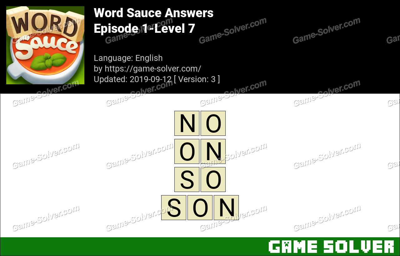 Word Sauce Episode 1-Level 7 Answers