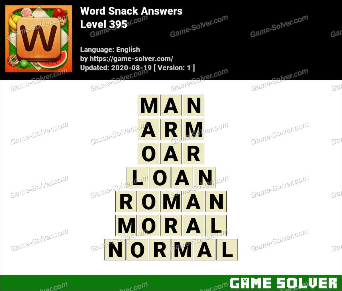 Word Snack Level 395 Answers