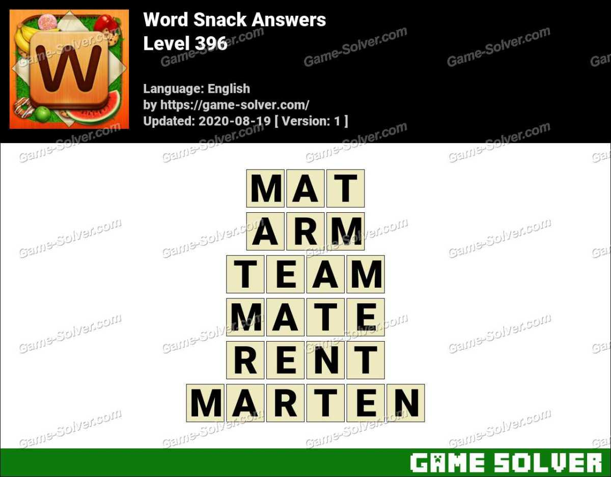 Word Snack Level 396 Answers