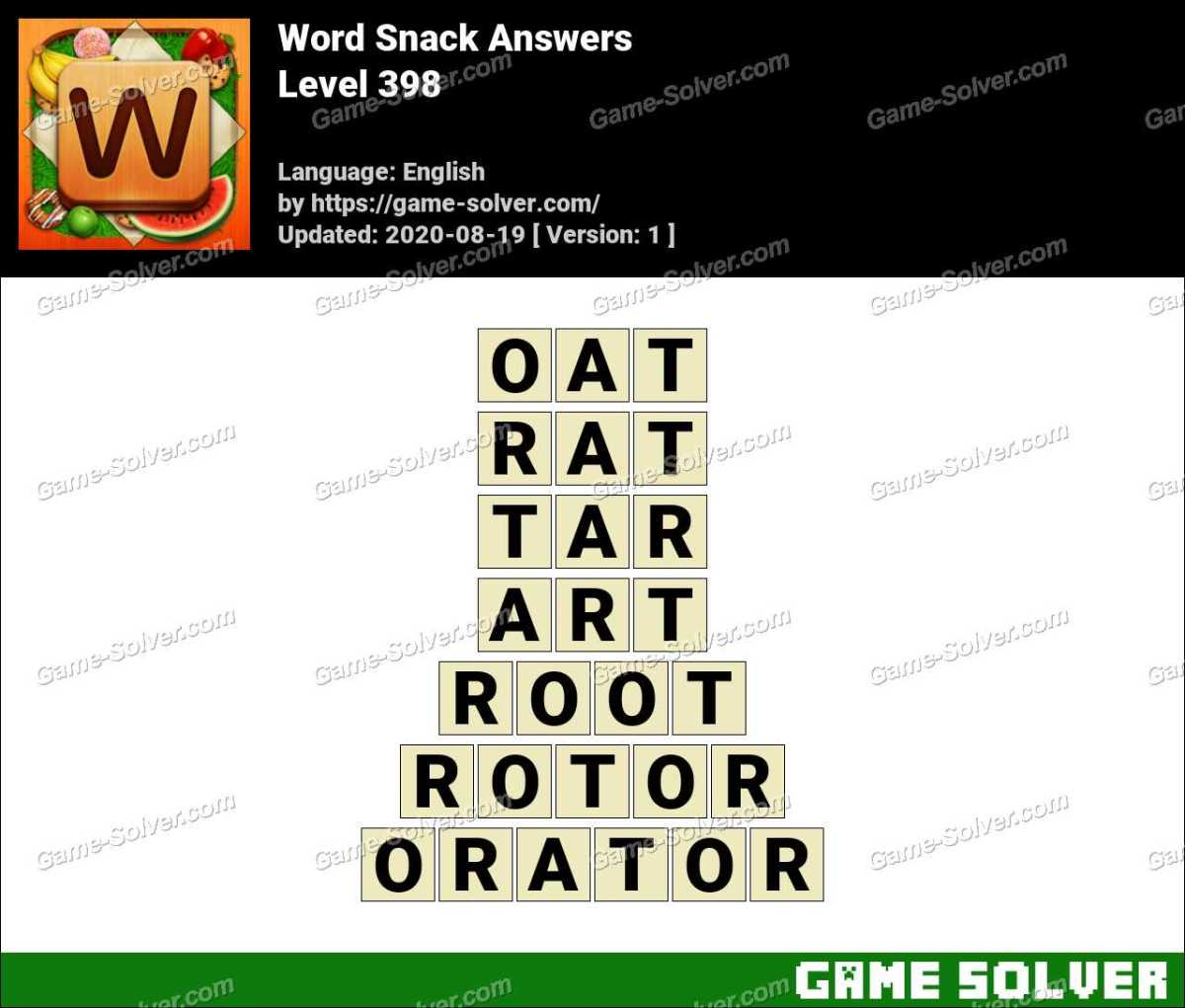 Word Snack Level 398 Answers