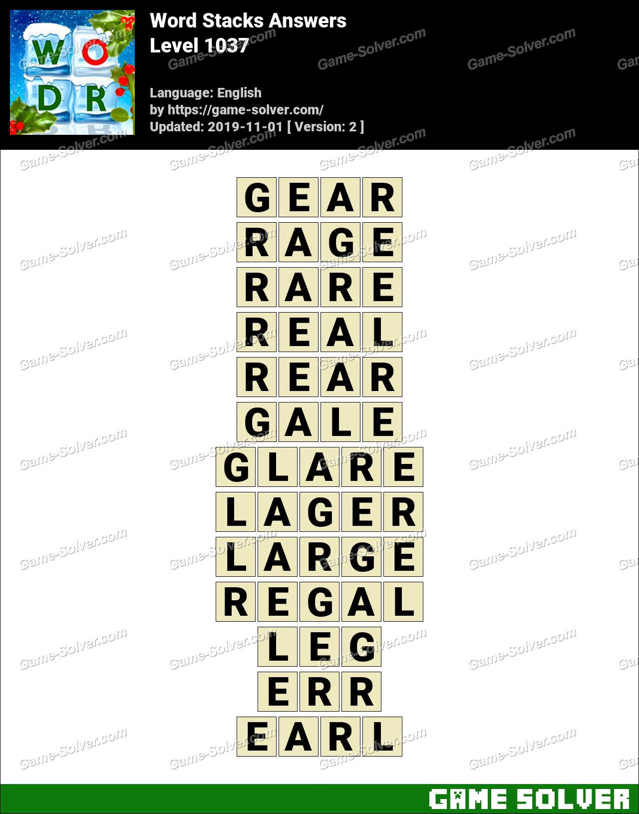 Word Stacks Level 1037 Answers