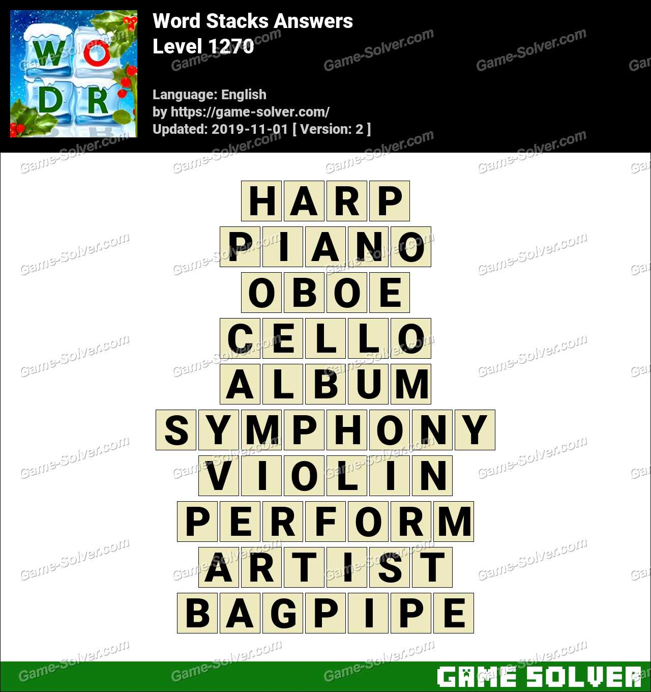 Word Stacks Level 1270 Answers