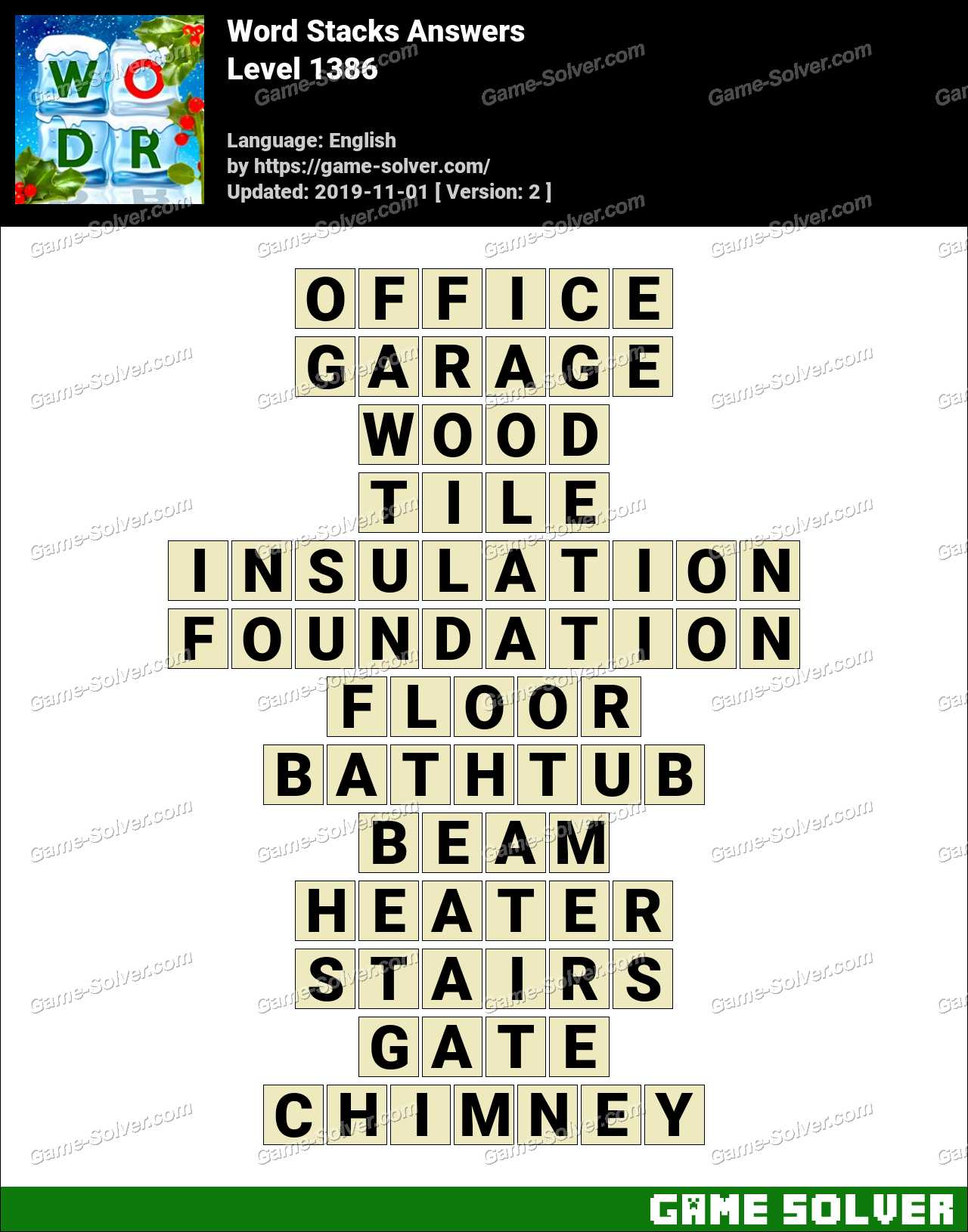 Word Stacks Level 1386 Answers