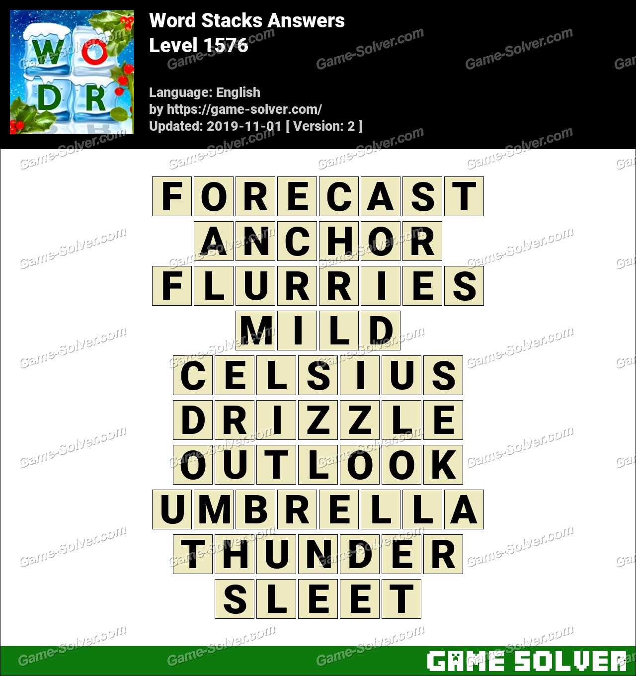 Word Stacks Level 1576 Answers