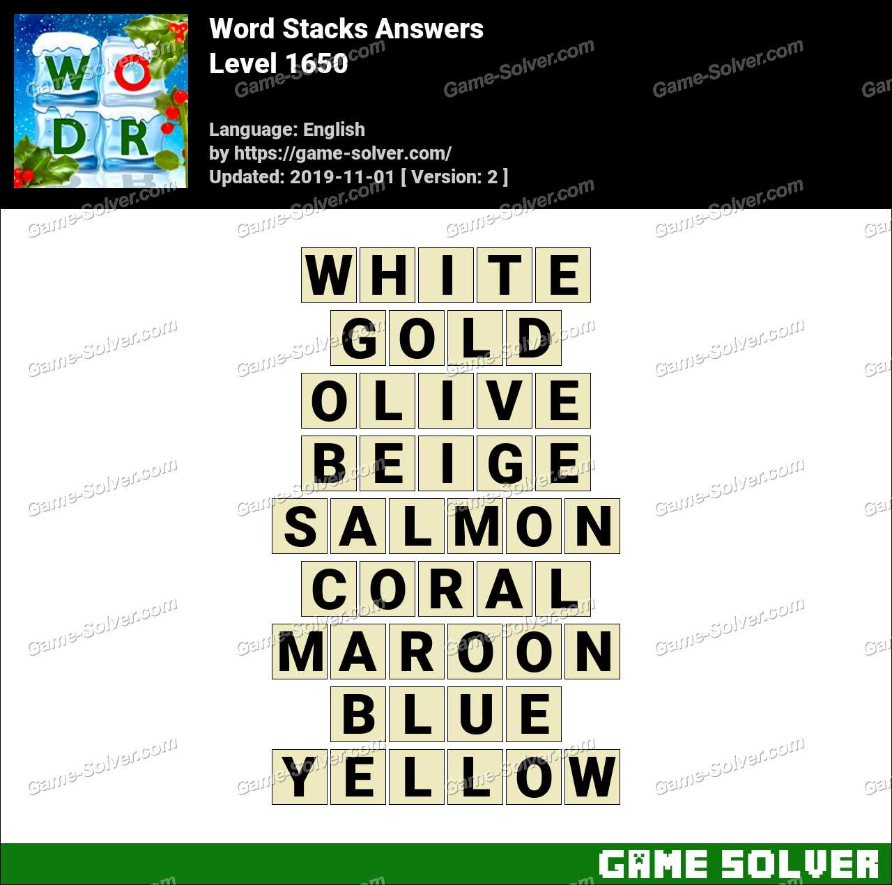 Word Stacks Level 1650 Answers