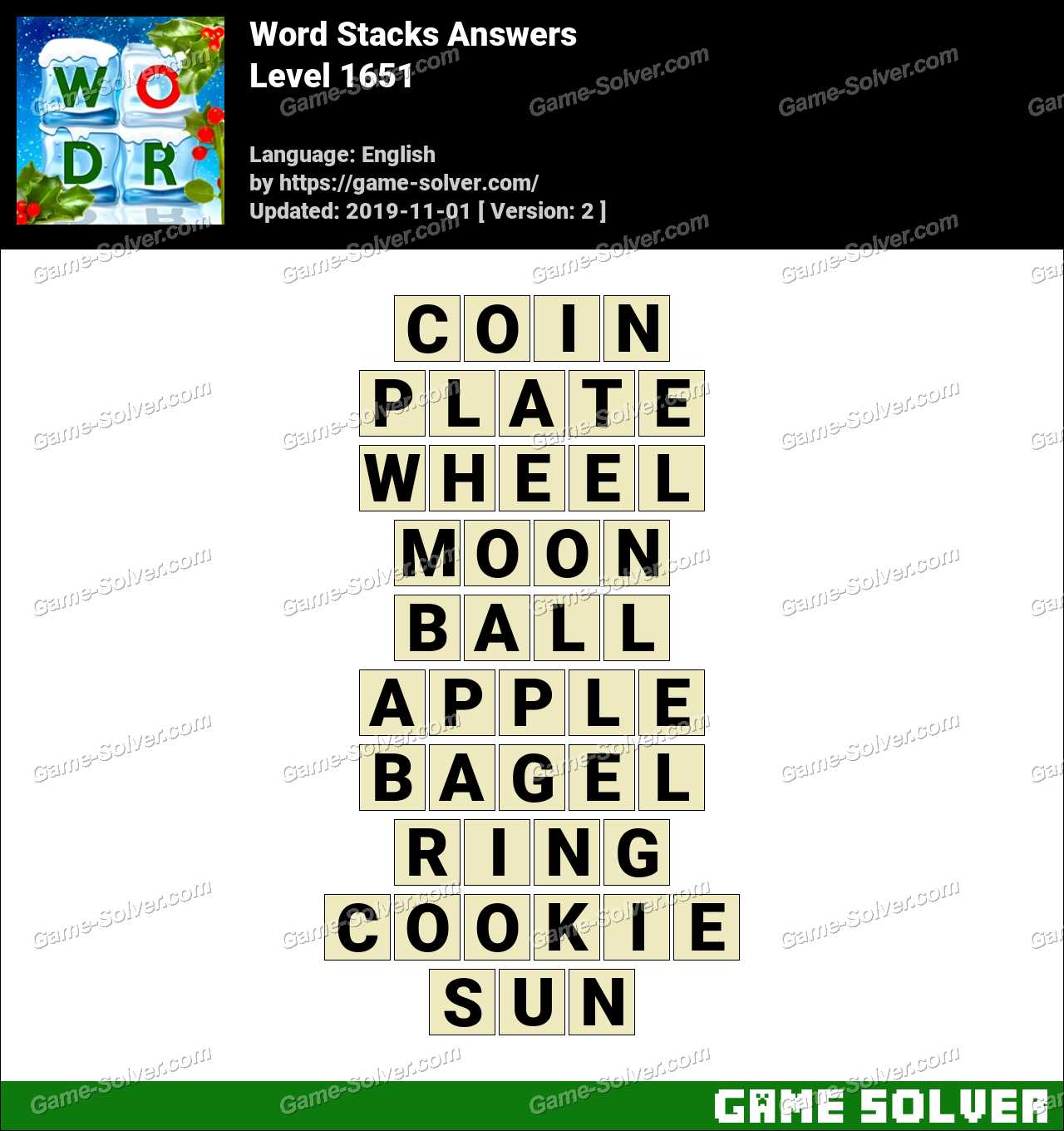Word Stacks Level 1651 Answers