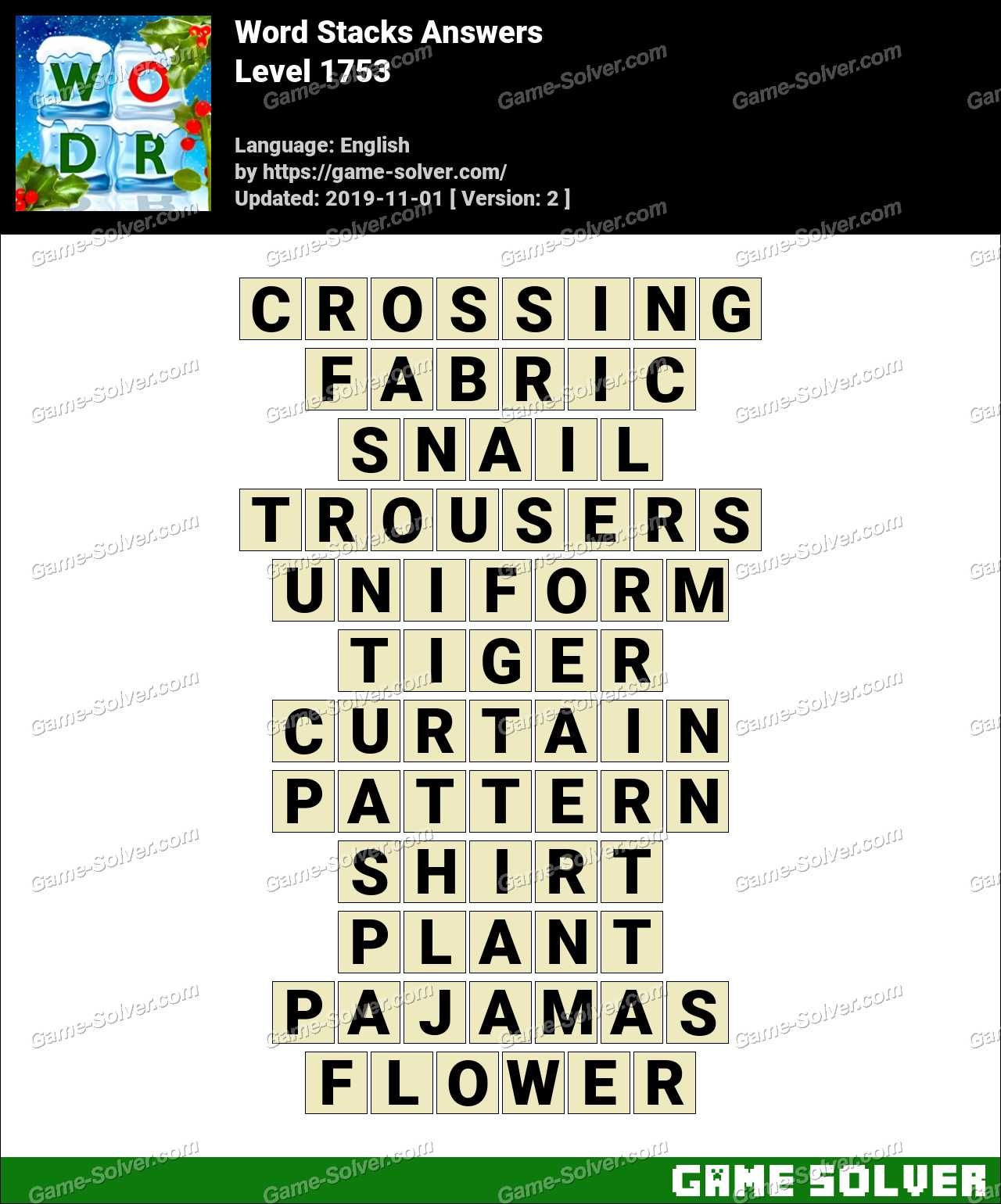 Word Stacks Level 1753 Answers