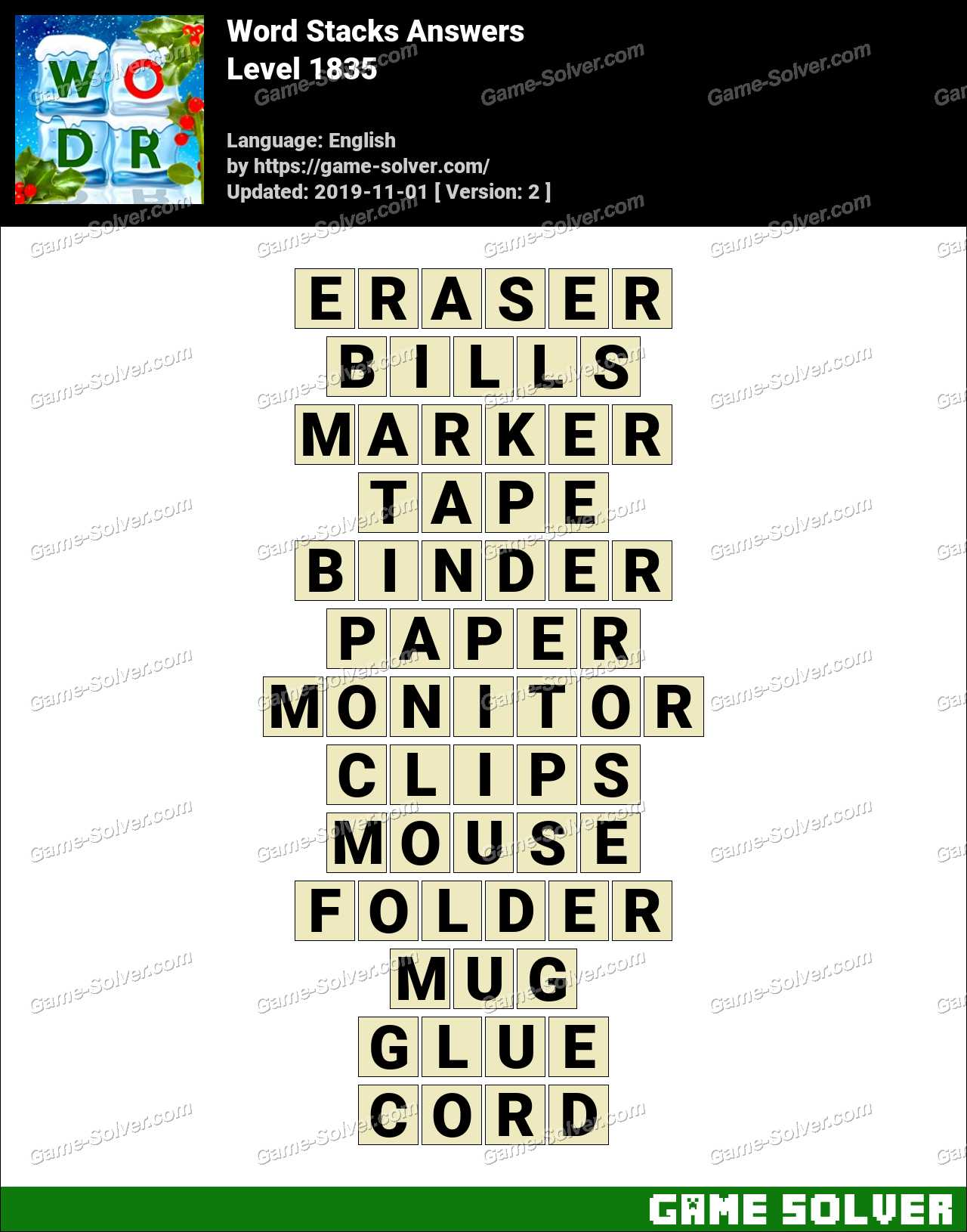 Word Stacks Level 1835 Answers
