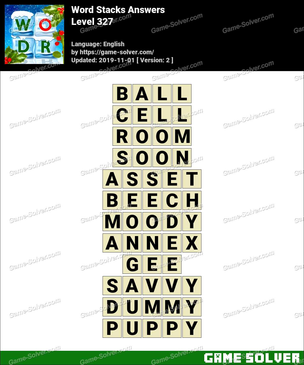 Word Stacks Level 327 Answers