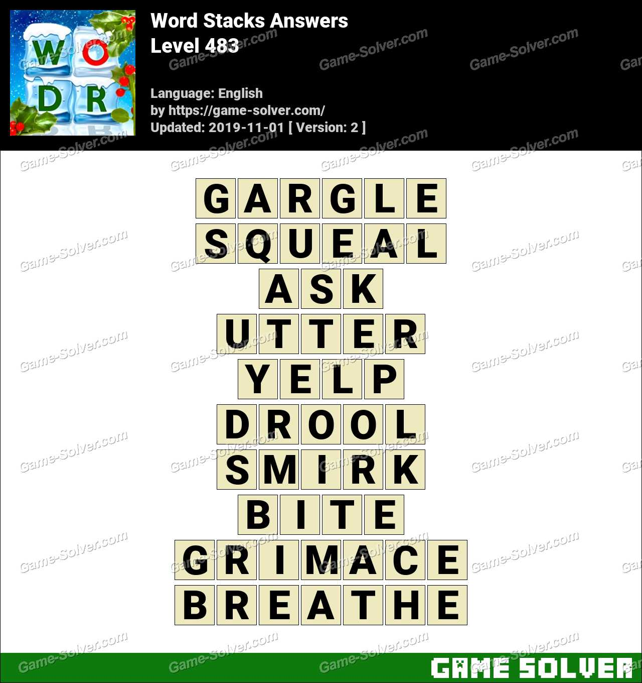 Word Stacks Level 483 Answers
