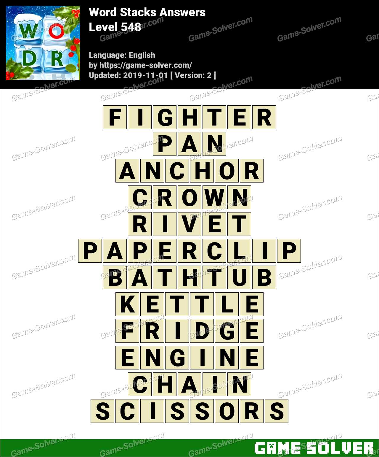 Word Stacks Level 548 Answers