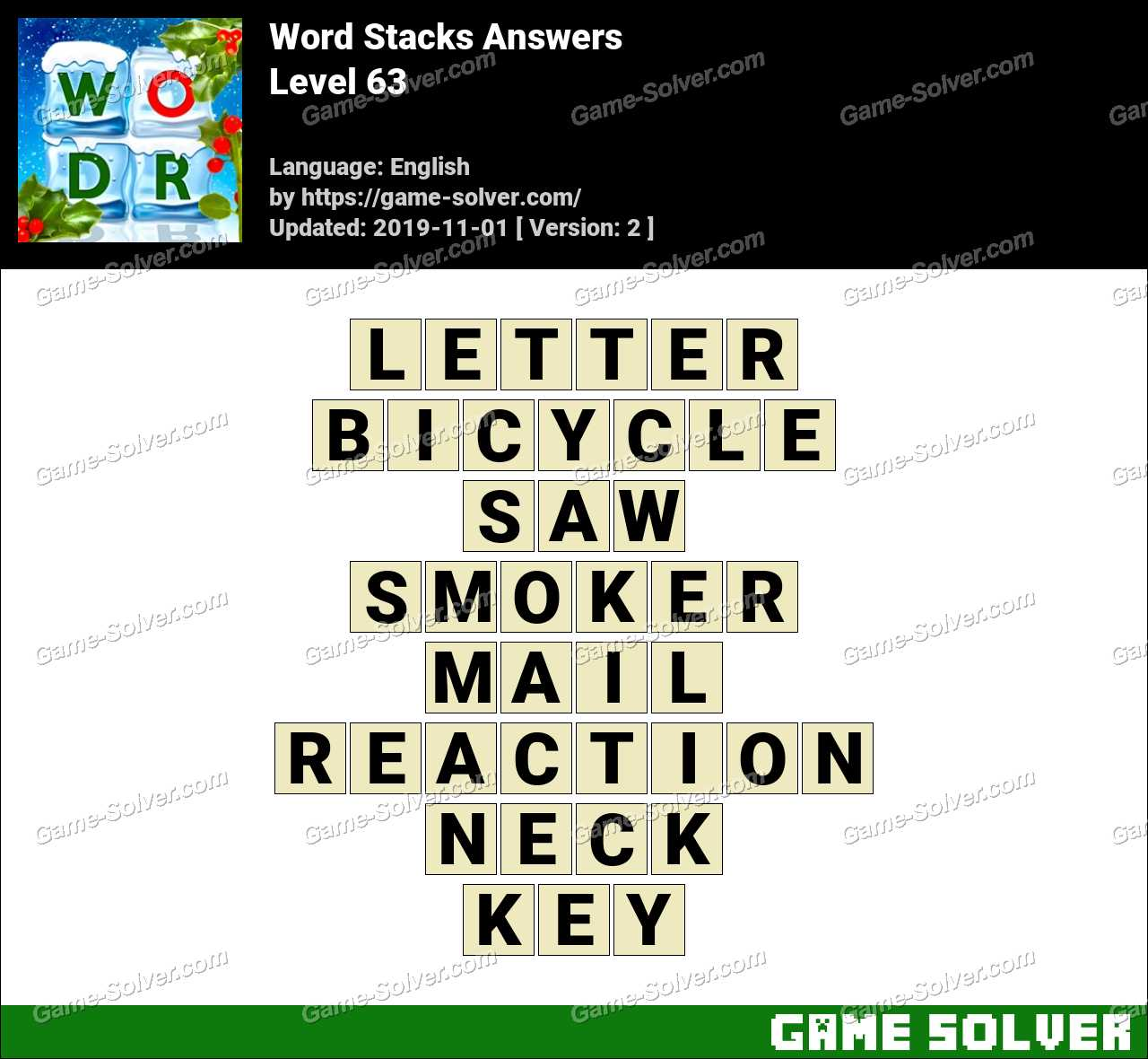 Word Stacks Level 63 Answers