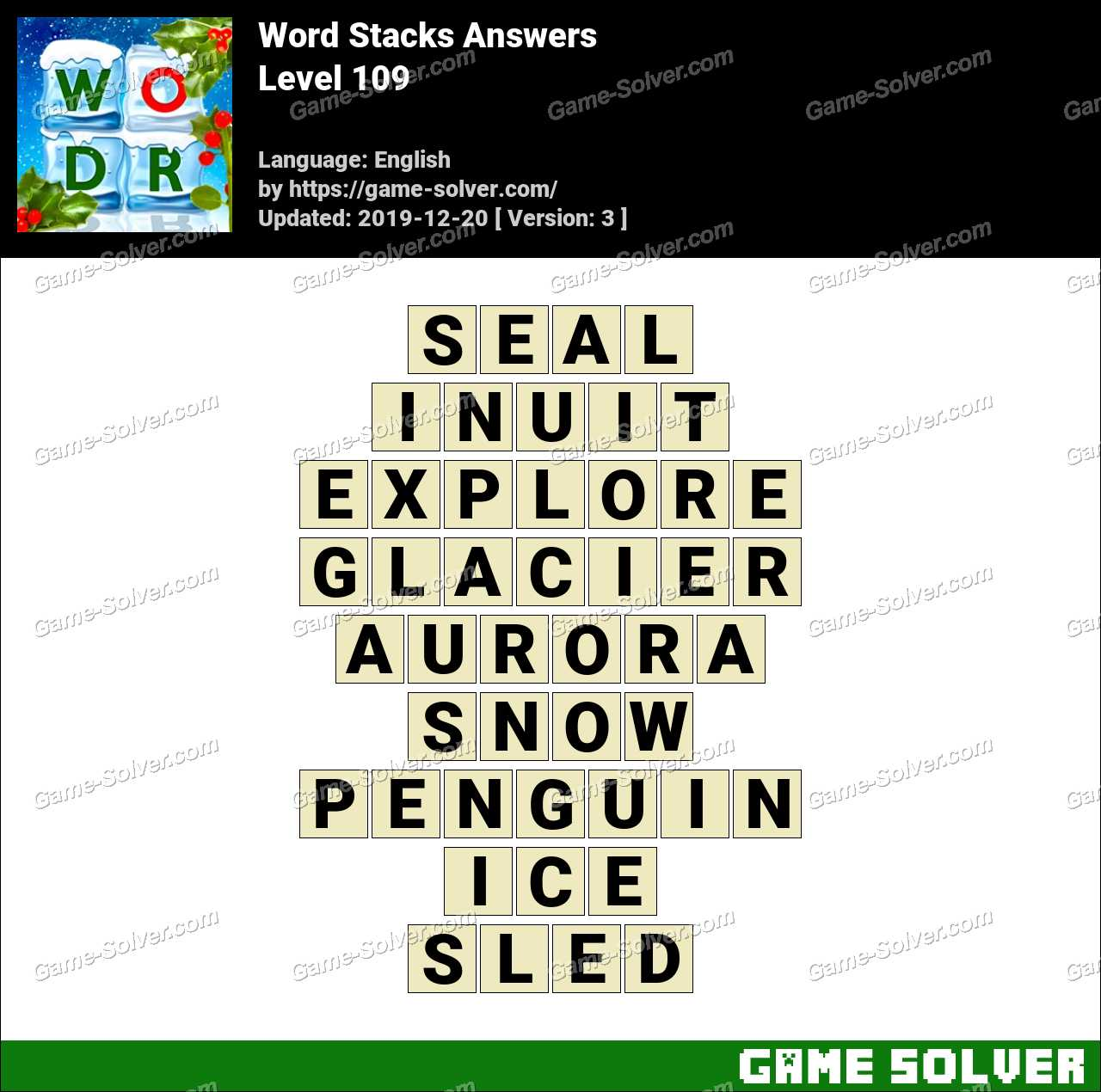 Word Stacks Level 109 Answers