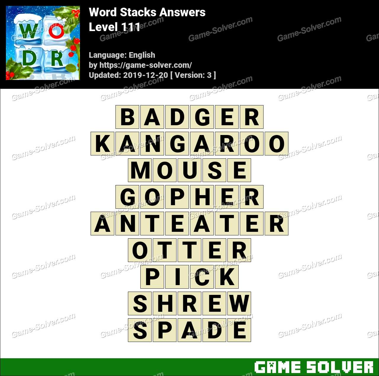 Word Stacks Level 111 Answers