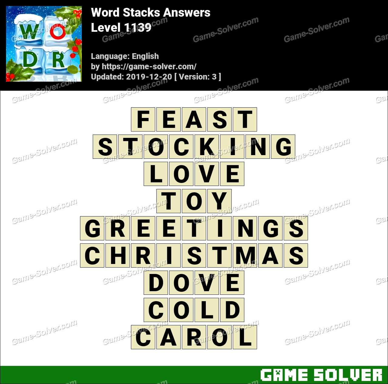 Word Stacks Level 1139 Answers