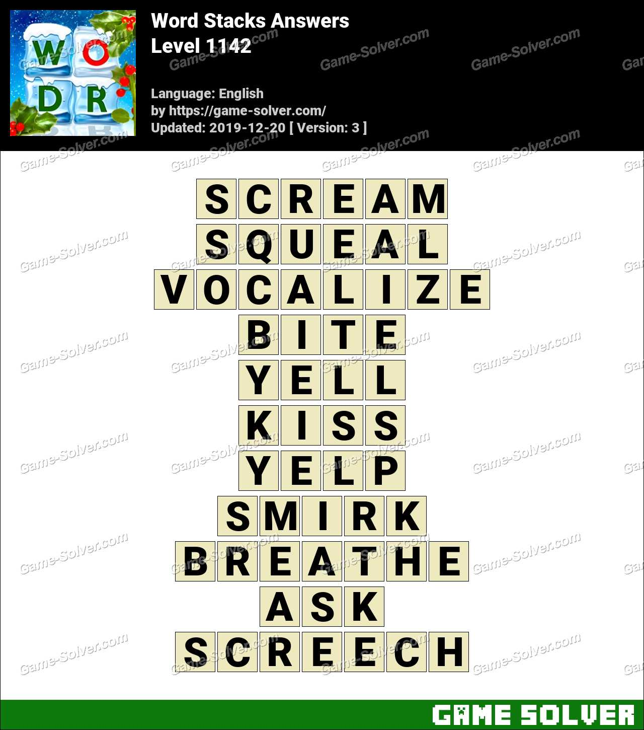 Word Stacks Level 1142 Answers