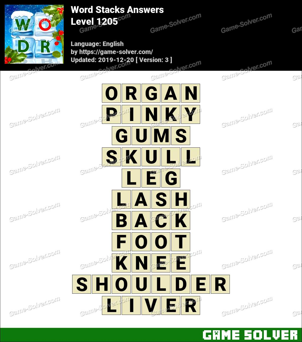 Word Stacks Level 1205 Answers
