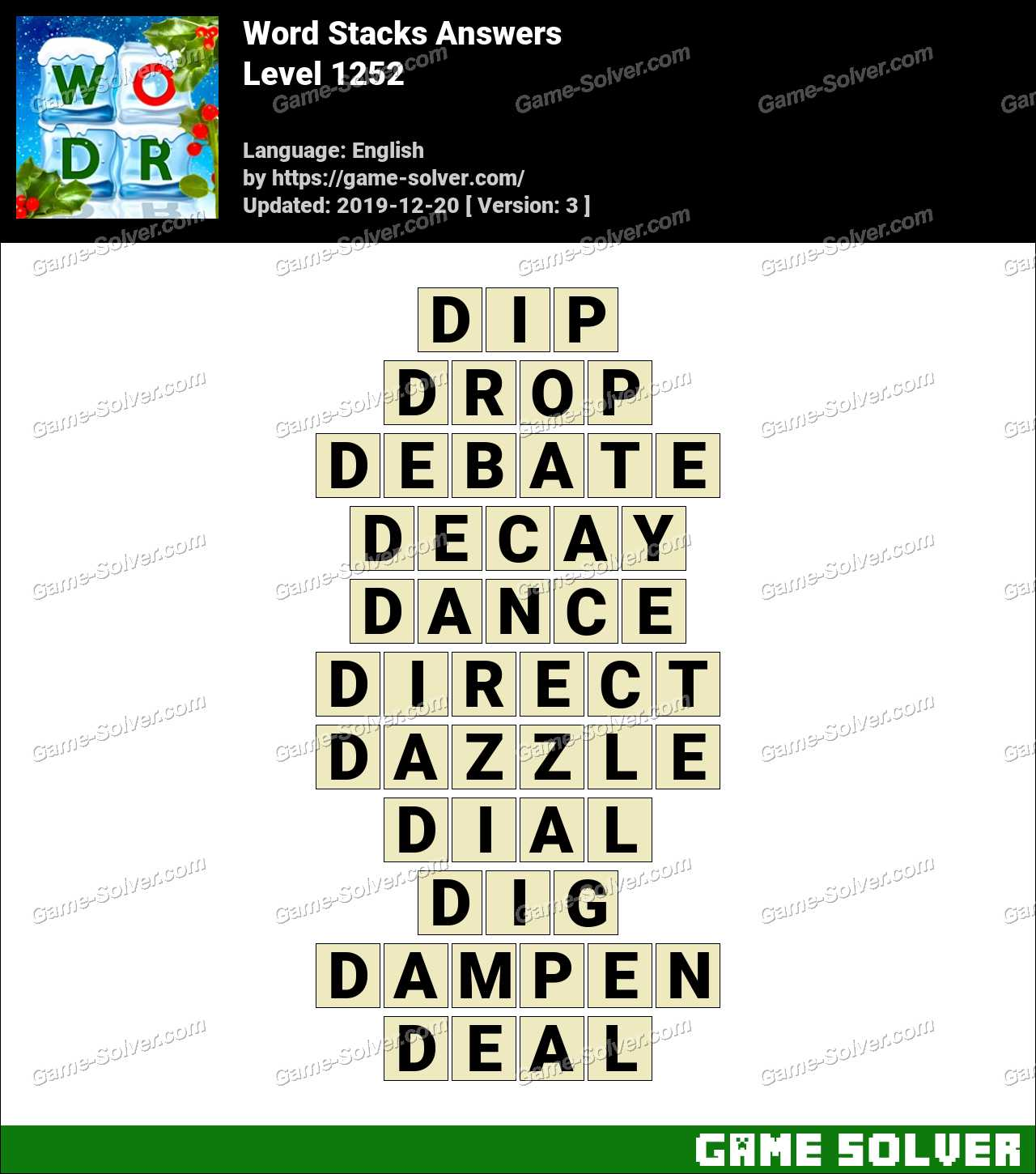 Word Stacks Level 1252 Answers