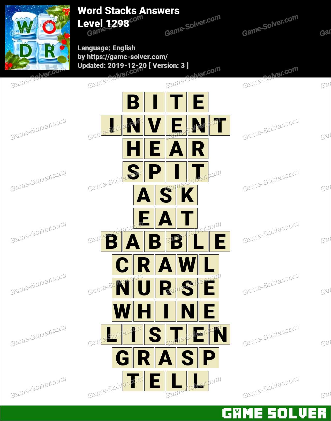 Word Stacks Level 1298 Answers