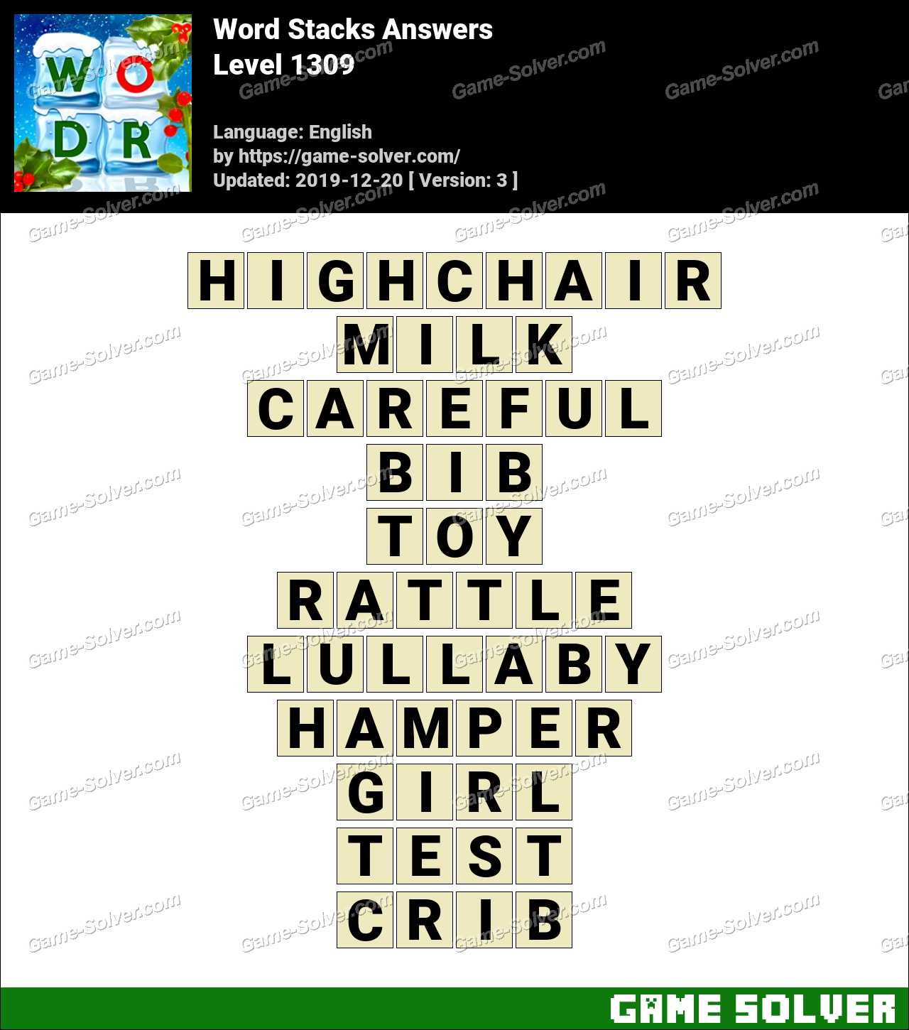 Word Stacks Level 1309 Answers