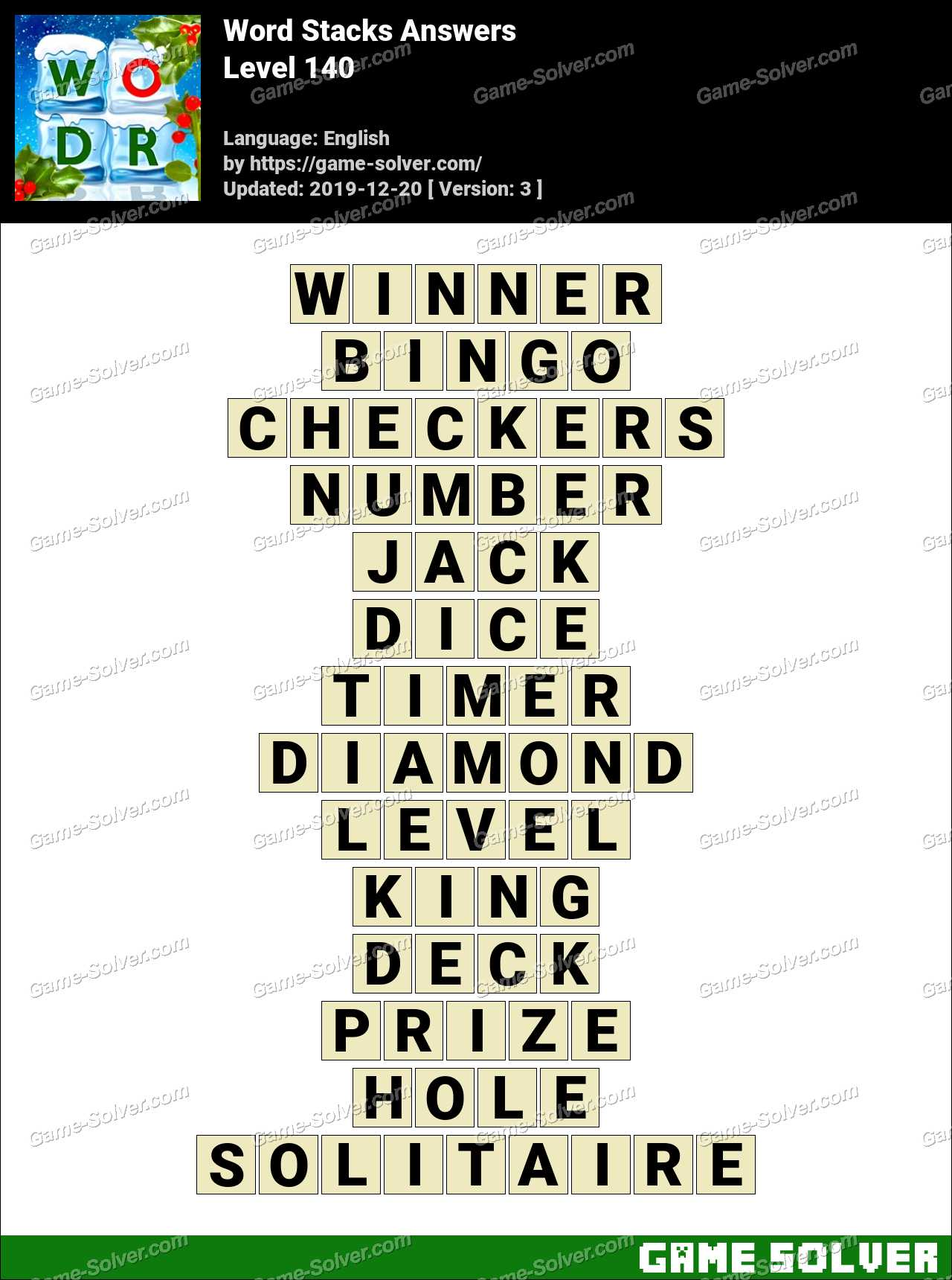 Word Stacks Level 140 Answers
