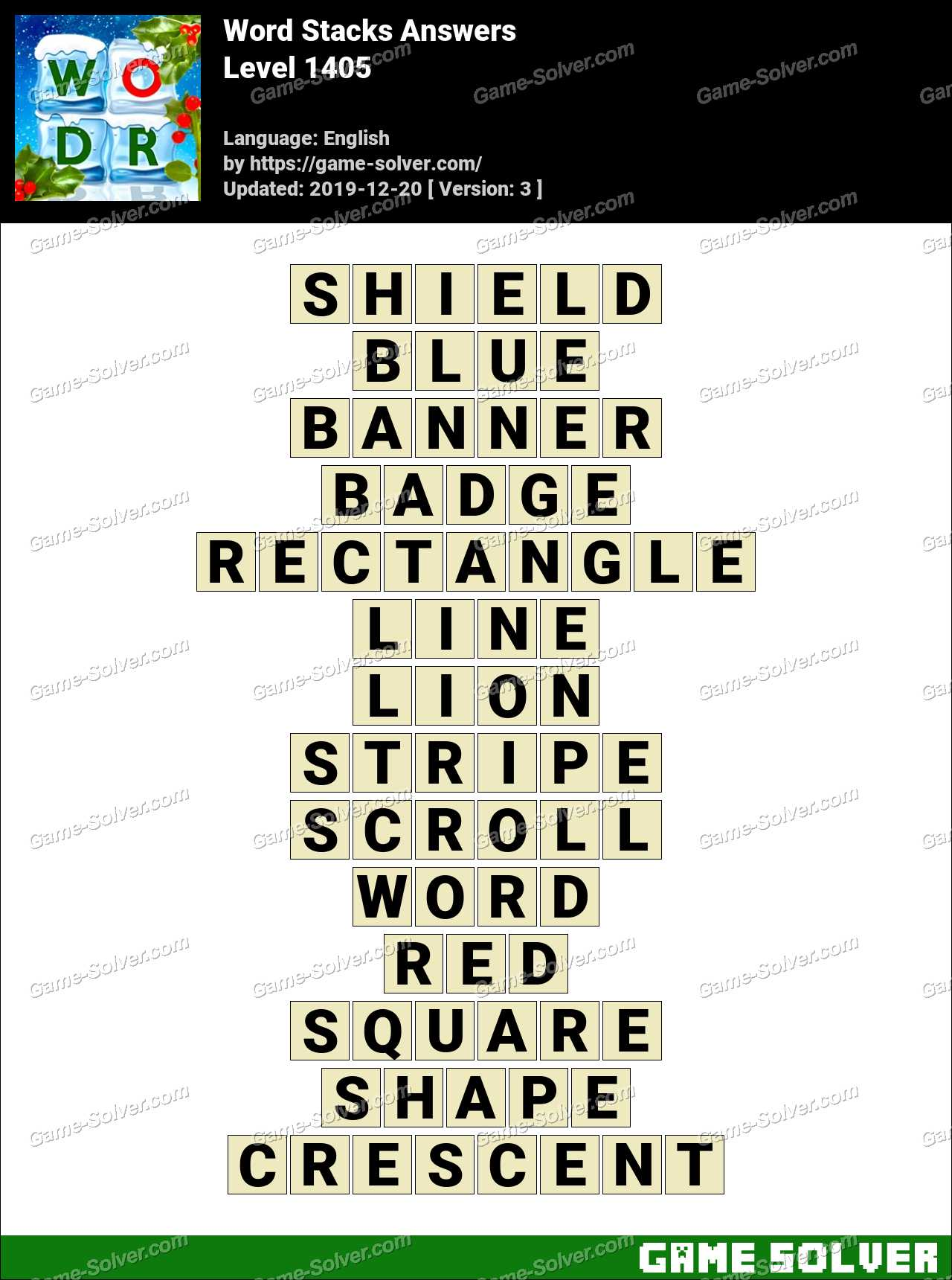 Word Stacks Level 1405 Answers
