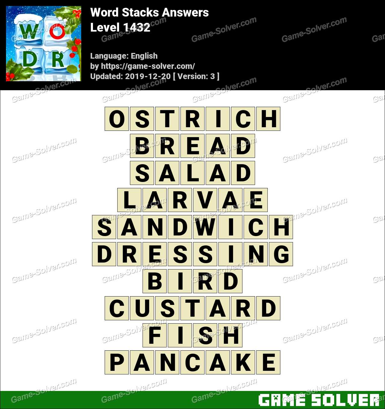 Word Stacks Level 1432 Answers