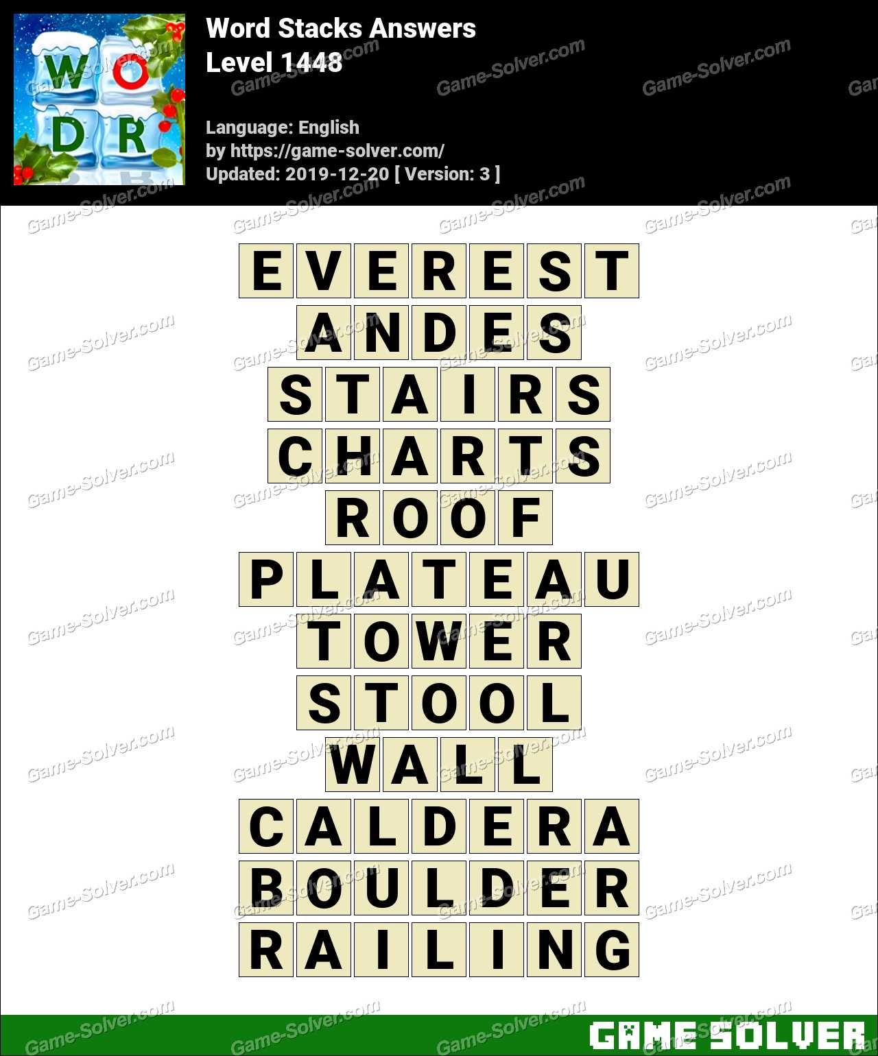 Word Stacks Level 1448 Answers