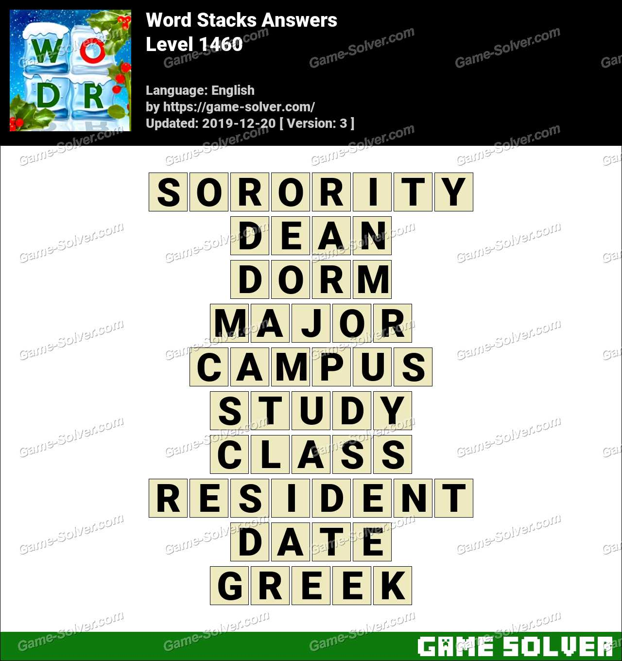 Word Stacks Level 1460 Answers